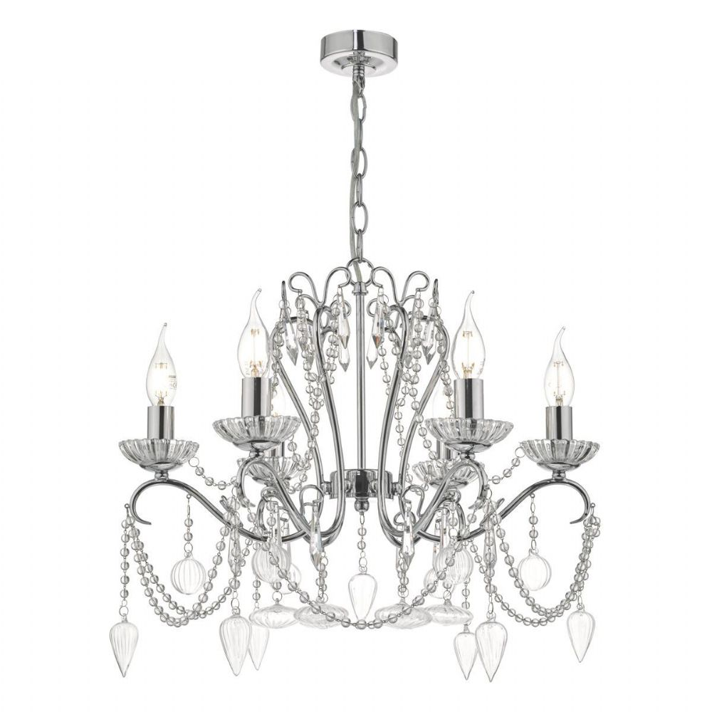 Nulara 6lt Chandelier Polished Chrome & Crystal NUL0650